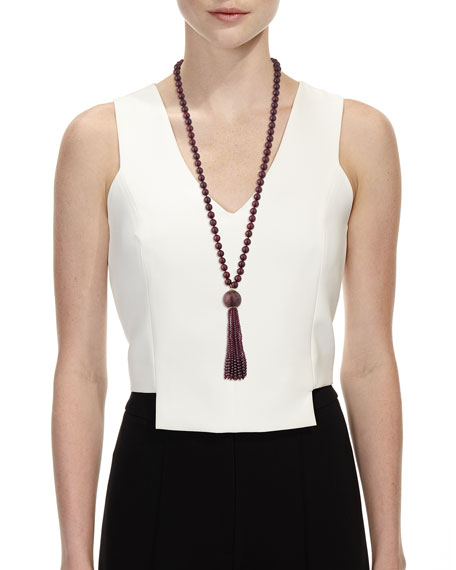 Marquetry Beaded Tassel Necklace