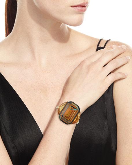 Marquetry Geometric Yellow Wood Bracelet with Diamonds & Citrine