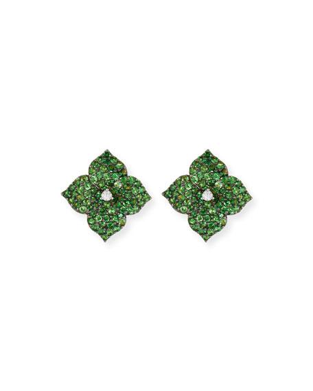 Green Tsavorite Flower Earrings