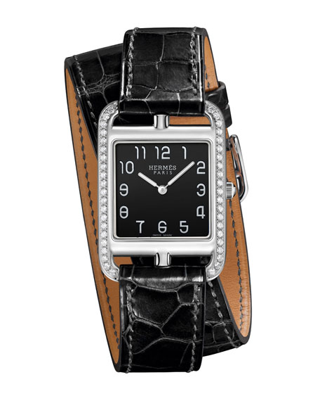 Cape Cod GM Watch with Alligator-Embossed Leather Strap, Black