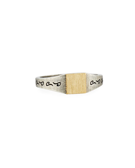 Ara Silver & 18K Yellow Gold Square Ring, Size 10