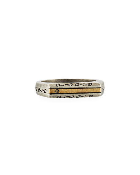 Ara Oxidized Silver & 18K Ring with Champagne Diamond, Size 10