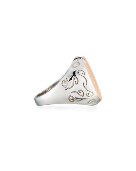 Ara Silver & Rose Gold Signet Ring, Size 10