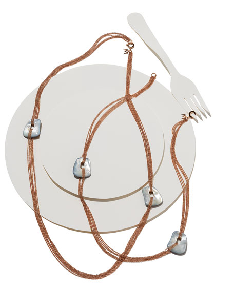 Puzzle Six-Strand Mother-of-Pearl Necklace in 18K Rose Gold