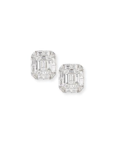 Mosaic Emerald-Shaped Diamond Stud Earrings