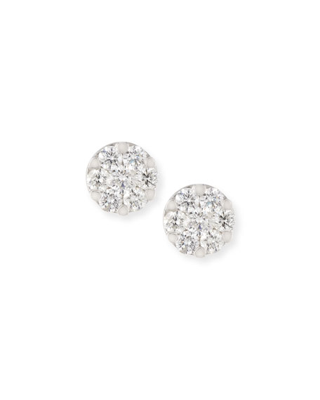 ZYDO Mosaic Round Diamond Flower Stud Earrings 18K