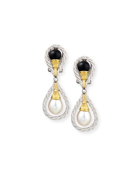 18k Gold Drop Earrings with Onyx and Pearls