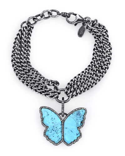 Three-Strand Chain Bracelet with Turquoise & Diamond Butterfly Charm
