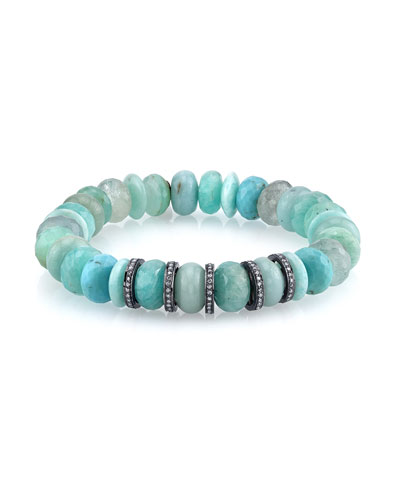 10mm Amazonite Beaded Bracelet with Diamonds