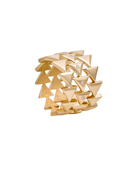 Unity Eternal Stacked Triangle Ring with Diamonds