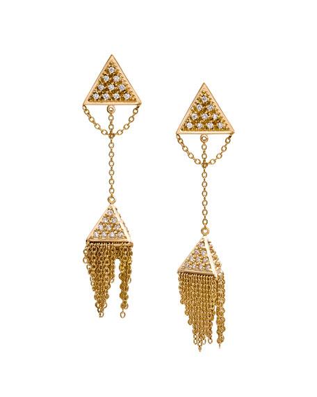 Unity Pavé Diamond Triangle Tassel Earrings