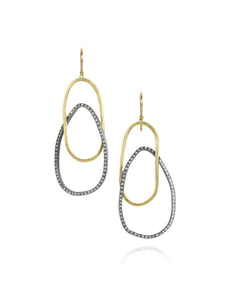 Dangle Earrings in 18K Gold & Silver with Diamonds