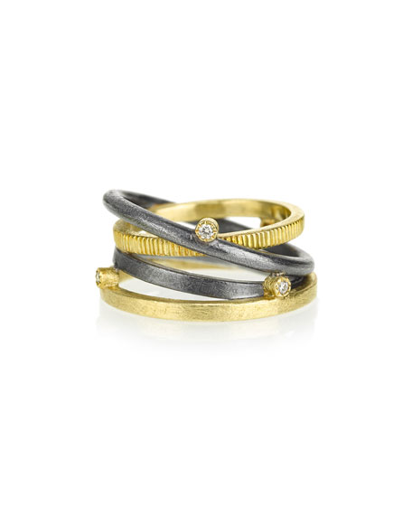 Banded Ring in 18K Gold & Sterling Silver with Diamonds