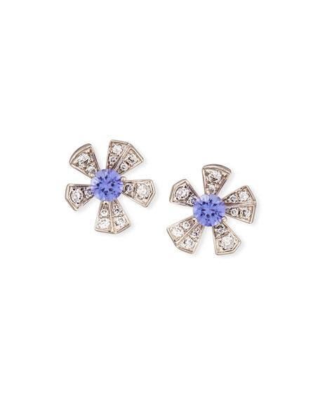 The Wonderland Purple Sapphire & Diamond Flower Earrings