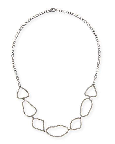 Sterling Silver Link Choker Necklace with Diamonds