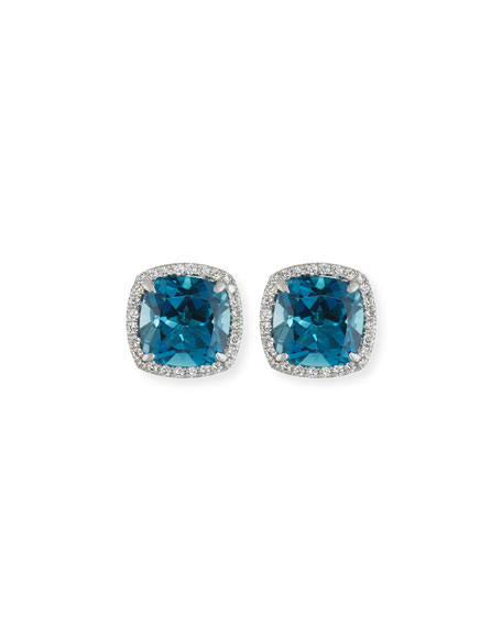 FREDERIC SAGE 18K WHITE GOLD LONDON BLUE TOPAZ DIAMOND HALO STUD EARRINGS