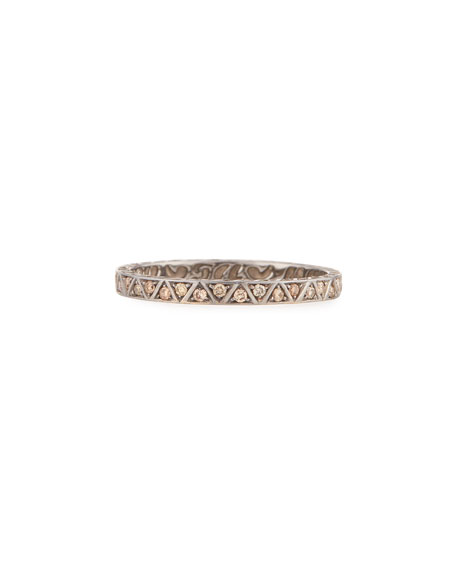Manawa 18K Black Gold Band with Champagne Diamonds, Size 10
