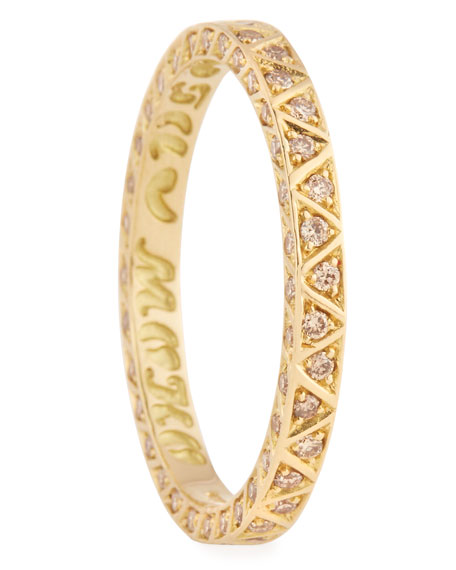 Manawa 18K Yellow Gold Band with Champagne Diamonds, Size 10
