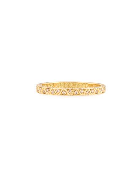 Manawa 18K Yellow Gold Band with Champagne Diamonds, Size 10