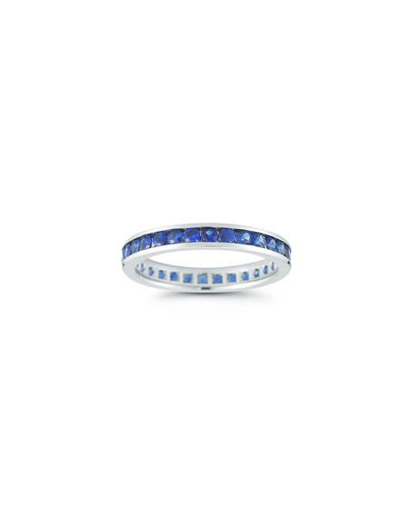 NM Diamond Collection 18k White Gold Blue Sapphire Eternity Ring