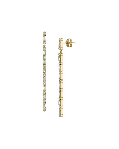 Dangling Baguette Diamond Line Earrings