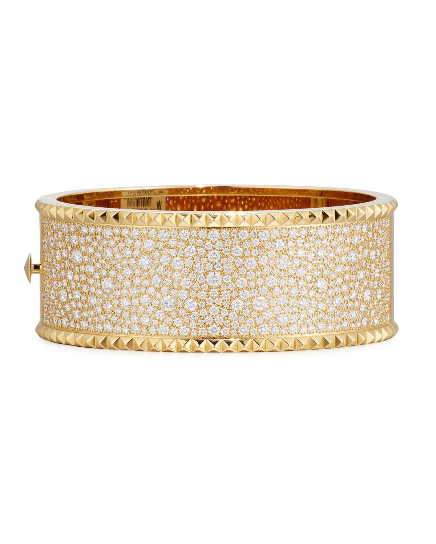 Roberto Coin Rock Diamonds Wide 18k Yellow Gold Bangle Bracelet