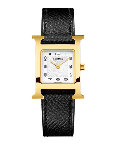Heure H PM Watch with Black Leather Strap