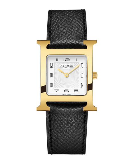 Heure H Watch, Gold Plate & Leather Strap