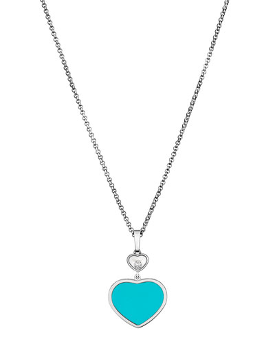 Happy Hearts 18k Turquoise & Diamond Long Pendant Necklace