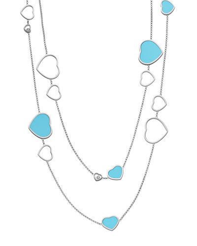 Happy Hearts 18k White Gold Turquoise & Diamond Long Station Necklace