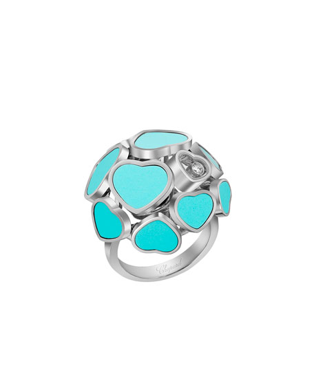 Happy Hearts 18k White Gold  Turquoise & Diamond Ring, Size 53