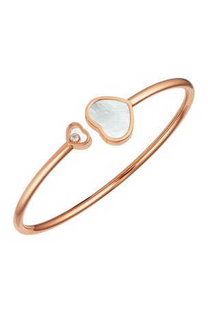 Chopard Happy Hearts 18k Rose Gold Mother-of-Pearl & Diamond Bangle Bracelet