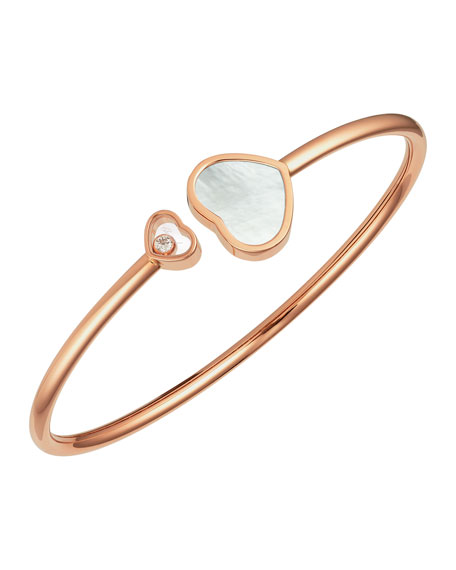 Happy Hearts 18k Rose Gold Mother-of-Pearl & Diamond Bangle Bracelet