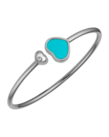 Happy Hearts 18k White Gold Turquoise & Diamond Bangle Bracelet