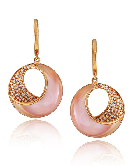 Small Pink Mother-of-Pearl & Diamond Venus Twist Earrings