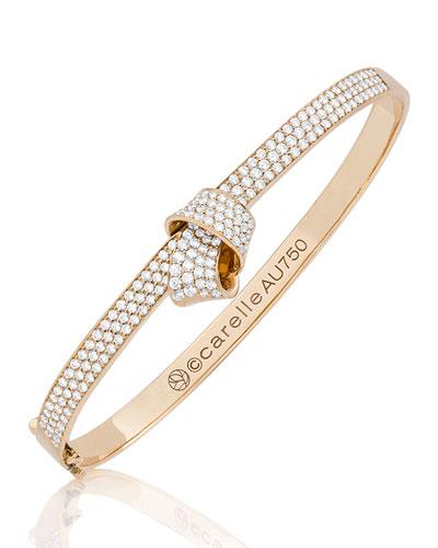 18K Rose Gold & Pavé Diamond Knot Bangle