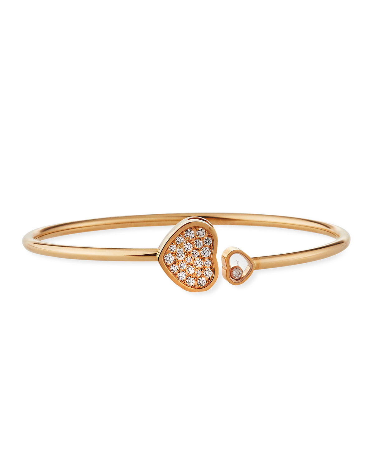Chopard Happy Hearts 18k Rose Gold Pave Diamond Bangle Bracelet ... 8629cda45