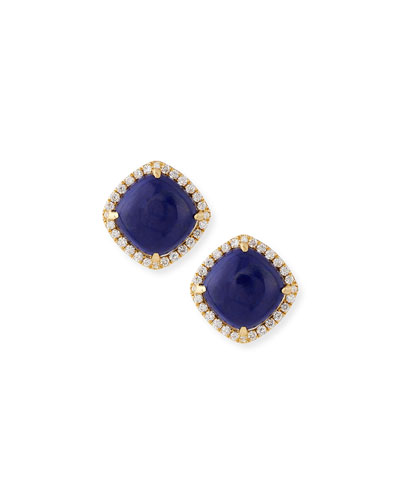 18K Gold Lapis & Diamond Stud Earrings