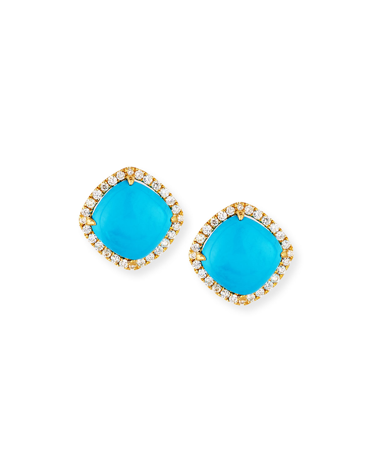 18k Gold Turquoise Diamond Stud Earrings