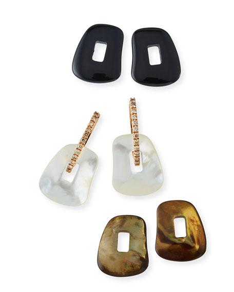 Diamond-Trimmed Puzzle Hoop Earrings, Brown/White/Onyx