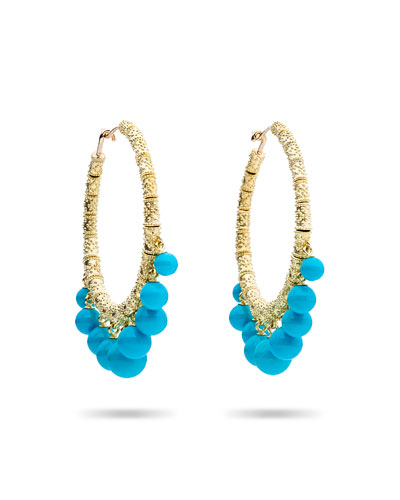 Turquoise Beaded Bell Hoop Earrings