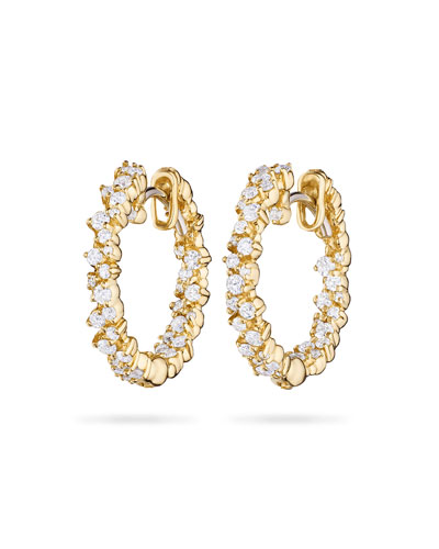 Confetti Diamond Hoop Earrings in 18K Gold
