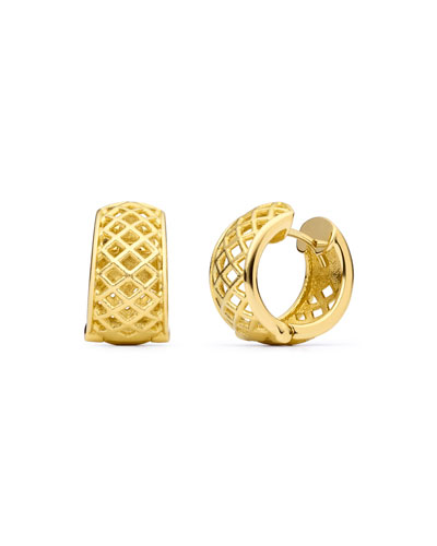 18K Gold Spiral Mesh Hoop Earrings