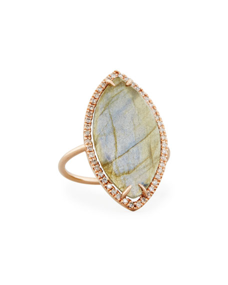 Candace Labradorite Marquis Ring with Diamonds, Size 7