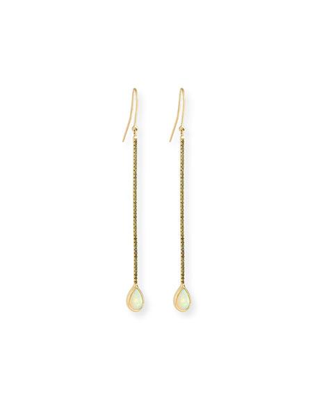 Dara Opal Teardrop Earrings with Green Diamonds