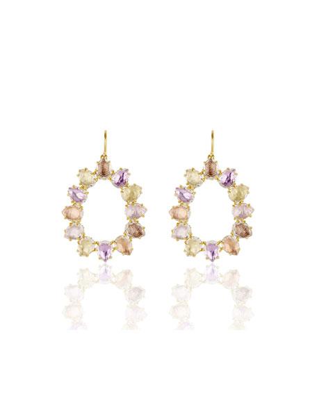 Caterina Small Open Frame Earrings in Multi-Bellini Foil