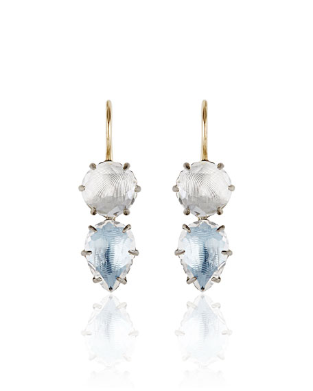 Larkspur & Hawk Caterina Rhodium-Washed Double-Drop Earrings in