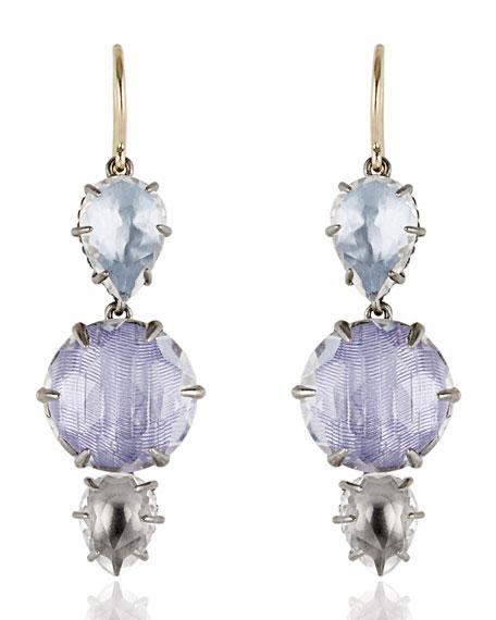 Larkspur & Hawk Caterina Three-Drop Earrings in Ice,
