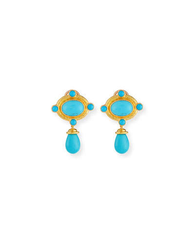 Convertible Turquoise Bezel Earrings with Detachable Briolette Drop