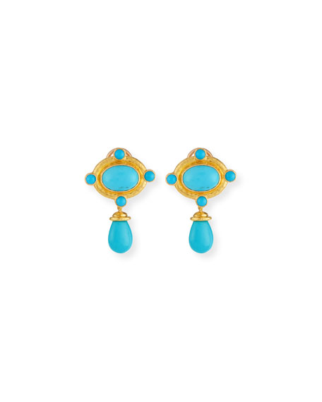 Elizabeth Locke Convertible Turquoise Bezel Earrings with